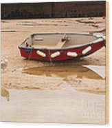 Dinghy At Low Tide In St Ives Cornwall Wood Print