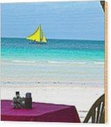 Dining At White Beach Wood Print