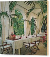 Dining Room With Place Setting Wood Print