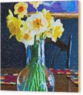 Dining With Daffodils Wood Print by Jo-Anne Gazo-McKim