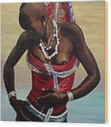 Dinka Girl In Beaded Wrap 2 Wood Print
