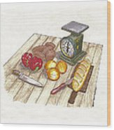 Weighing Dinner Preparation Supper Wood Print