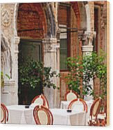 Dinner Tables In Venice Wood Print