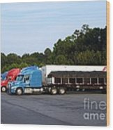 Dinner Time For Truckers Wood Print