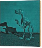 Dino Dark Turquoise Wood Print