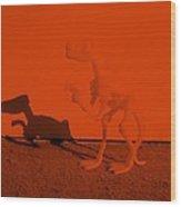 Dino Orange Wood Print