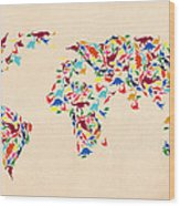 Dinosaur Map Of The World  Wood Print