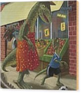 Dinosaur Mum Out Shopping With Son Wood Print