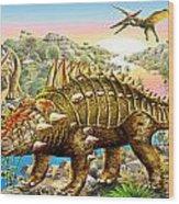 Dinosaur Panorama Wood Print