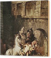 Diomedes Devoured By His Horses Wood Print