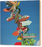 Directions Signs Wood Print