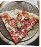 Directly Above Shot Of Pizza Slice Wood Print