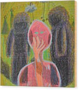 Disappearance Of The Woman And Her Own Two Stone Children With Clouds On Wheels Wood Print