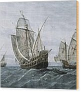 Discovery Of America 1492. The Caravels Wood Print