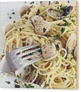 Dish Of Spaghetti With Clams Wood Print