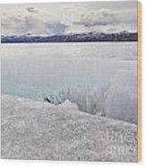 Disintegrating Candelized Melting Ice On Lake Shore Wood Print
