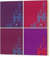 Disney Castle In Purples Wood Print