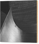 Disney Hall Abstract Black And White Wood Print by Rona Black