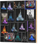 Disney Magic Kingdom Castle Collage Wood Print