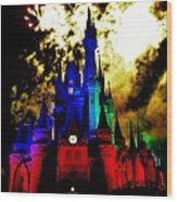 Disney Night Fireworks Wood Print