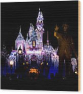 Disneyland Christmas Castle Wood Print