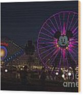 Disneyland Ferris Wheel At Dark Wood Print