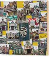 Disneyland Toontown Yellow Collage Wood Print