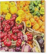 Display Of Fresh Vegetables At The Market Wood Print