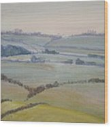 Distant Hills Fields And Hedges Painting Wood Print