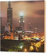 Distant Lights - Chicago Illinois Skyline Wood Print