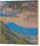 Distant Mountains - Digital Impression Paint Wood Print