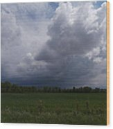 Distant Storm Wood Print