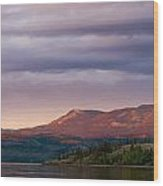 Distant Yukon Mountains Glowing In Sunset Light Wood Print