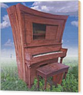 Distorted Upright Piano 2 Wood Print by Mike McGlothlen