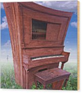Distorted Upright Piano Wood Print