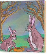 Distracted Easter Bunnies Wood Print