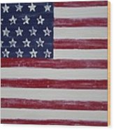 Distressed American Flag Wood Print by Holly Anderson