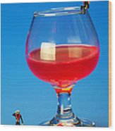 Diving In Red Wine Little People Big Worlds Wood Print