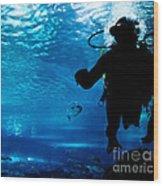 Diving In The Ocean Underwater Wood Print