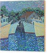Divisionistic Shrimp Boats Wood Print