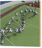 Dna String Of Soccer Player On The Field Of Stadium Wood Print