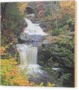 Doanes Falls Fall Foliage Wood Print
