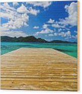 Dock And Beautiful Water Wood Print
