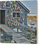 Dock House In Maine Wood Print by Jon Glaser
