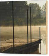 Dock In The Mist Wood Print