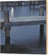 Dock In The Moon Light Wood Print