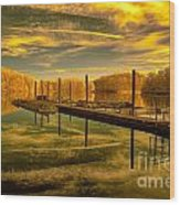 Dock Reflections-golden Wood Print