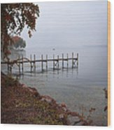 Dock On A Lake In Autumn Wood Print