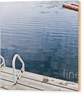 Dock On Calm Summer Lake Wood Print