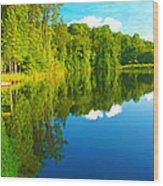 Dock On Mountain Lake Wood Print